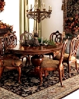 A traditional Interior Decorating dining room arrangement.